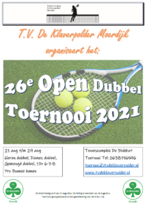 Open Toernooi TVDeKlaverpolder poster A3 2021